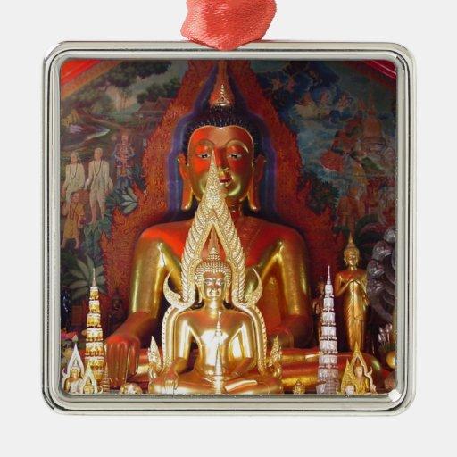 Chang Mai Buddhist Temple Thailand Gold Buddha Square Metal Christmas Ornament