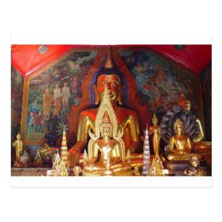 Chang Mai Buddhist Temple Thailand Gold Buddha Postcard