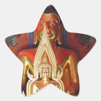 Chang Mai Buddhist Temple Thailand Gold Buddha Star Sticker