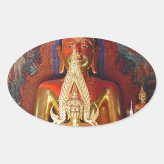 Chang Mai Buddhist Temple Thailand Gold Buddha Oval Sticker