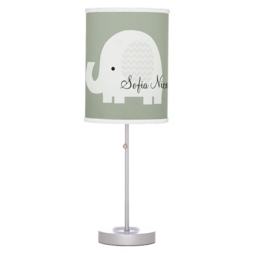 Changable Color Personalized Chevron Elephant Lamp