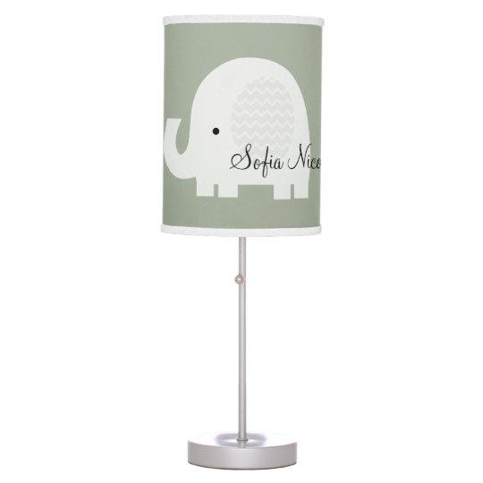 Changable Color Personalized Chevron Elephant Lamp