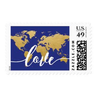 Change BKG Color | Gold World Map Love Destination Postage