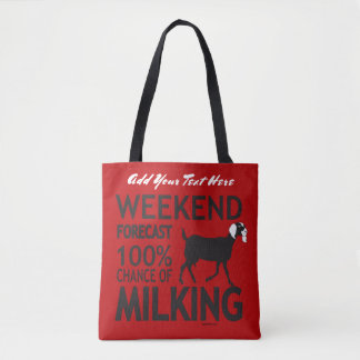 CHANGE COLOR Weekend Forecast Nubian Dairy Goat Tote Bag
