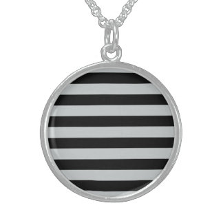 Change Grey Stripes to  Any Color Click Customize Round Pendant Necklace