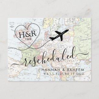 Change in Plans Postponed Destination Wedding Announcement Postcard