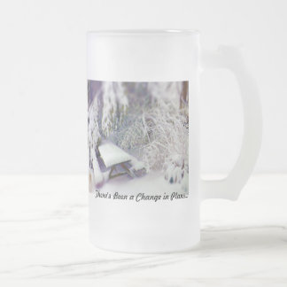 Change in Plans Snow Covered Picnic Table, Pines 16 Oz Frosted Glass Beer Mug
