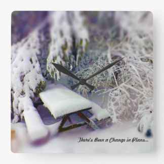 Change in Plans Snow Covered Picnic Table Pines Square Wall Clock