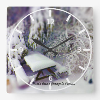 Change in Plans Snow Covered Picnic Table Pines Wall Clock