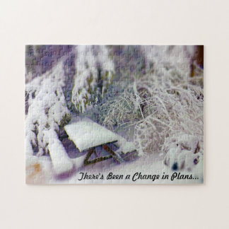 Change in Plans Snow Covered Picnic Table, Pines Jigsaw Puzzle
