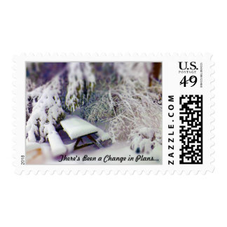 Change in Plans Snow Covered Picnic Table, Pines Postage