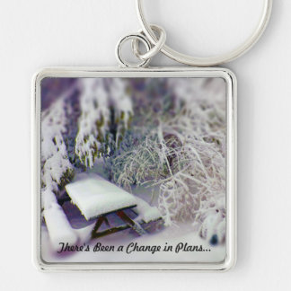 Change in Plans Snow Covered Picnic Table, Pines Silver-Colored Square Keychain