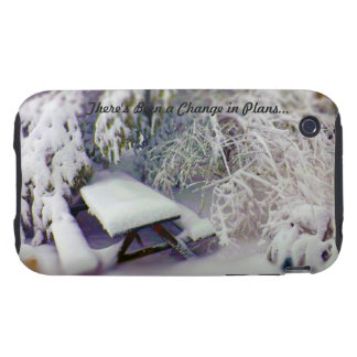 Change in Plans Snow Covered Picnic Table, Pines Tough iPhone 3 Cover