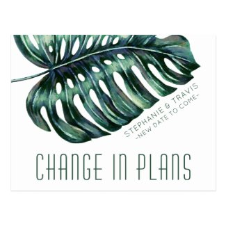 Change in Plans Tropical Wedding Postponement Postcard