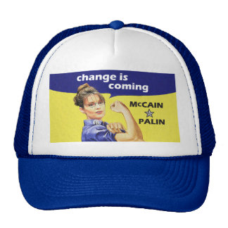 """""""change is coming"""" McCain / Palin Republican Party Trucker Hat"""