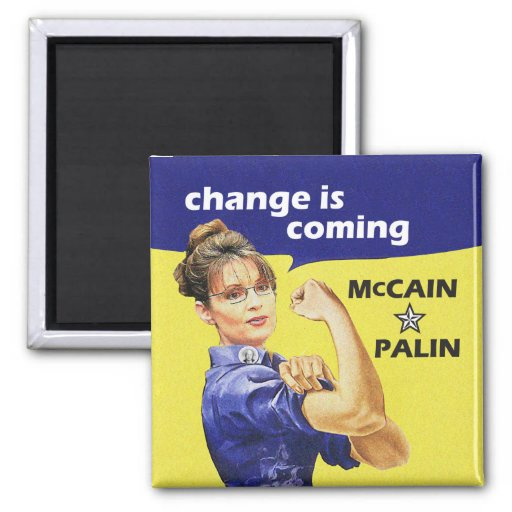 """change is coming"" McCain / Palin Republican Party Magnets"