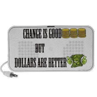 Change is good, but dollars are better mini speaker