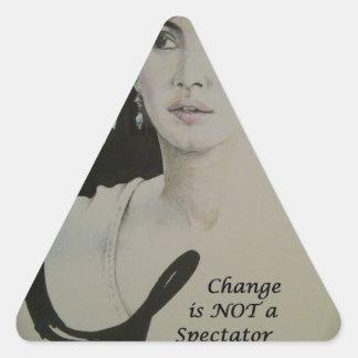 Change is NOT a Spectator Sport.jpg Triangle Sticker