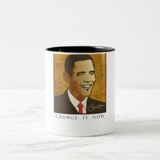 Change is now - Barack Obama Two-Tone Coffee Mug
