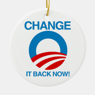 CHANGE IT BACK NOW CHRISTMAS ORNAMENTS