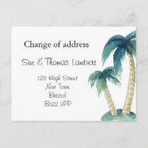 Change of address beach theme palm tree announcement postcard