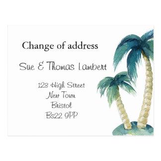 Change of address beach theme palm tree postcard