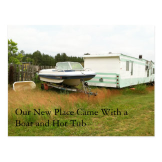 Change of Address Card: Boat and Hot Tub Postcard