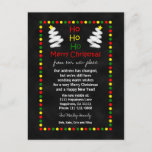 "Change of Address Chalkboard Christmas Trees Holiday Postcard<br><div class=""desc"">This fun change of address postcard is made especially for Christmastime. The postcard features a chalkboard style on which pretty holiday lights surround the announcement. A couple white Christmas trees appear at the top too along with HO HO HO Merry Christmas. This postcard is an inexpensive way to say Merry...</div>"