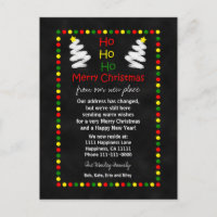 Change of Address Chalkboard Christmas Trees Holiday Postcard