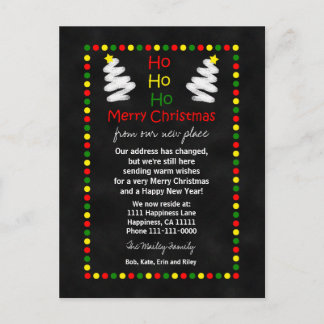 Change of Address Chalkboard Christmas Trees Holiday Postcard