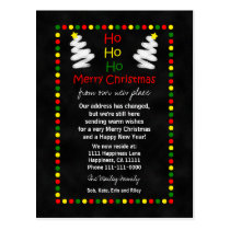 Change of Address Chalkboard Christmas Trees Postcard