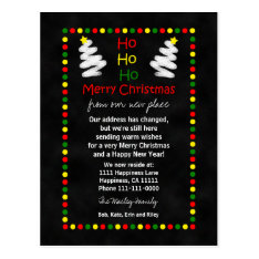 Change Of Address Chalkboard Christmas Trees Postcard at Zazzle