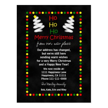 Christmas Themed Change of Address Chalkboard Christmas Trees Postcard