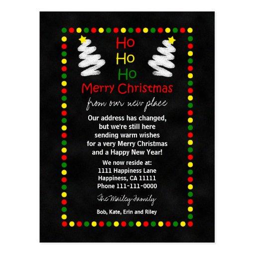 Change of Address Chalkboard Christmas Trees Postcard