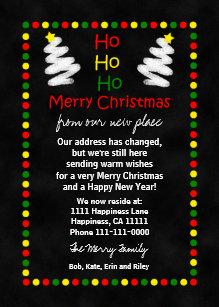 change of address christmas flat card chalkboard