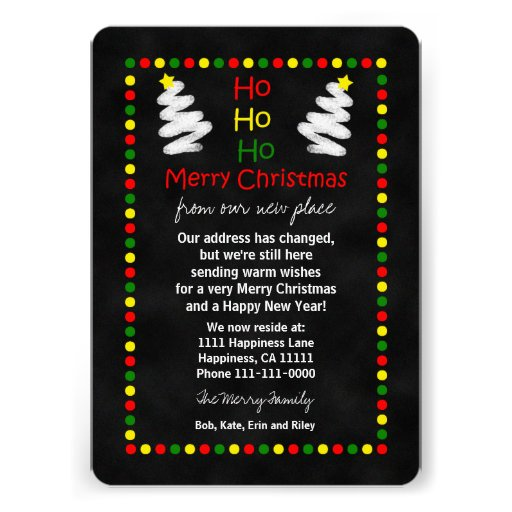 Change of Address Christmas Flat Card Chalkboard Announcements