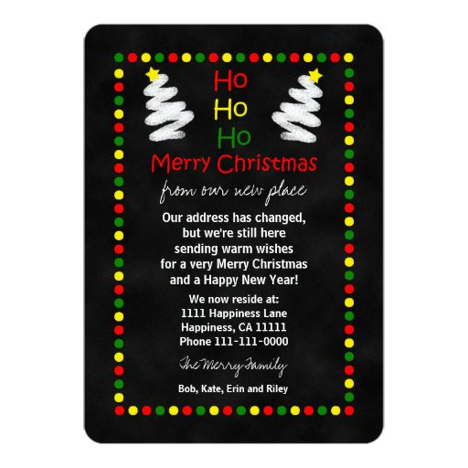 Change of Address Christmas Flat Card Chalkboard Announcements