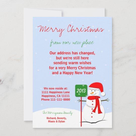 Change of Address Christmas Flat Card Snowman