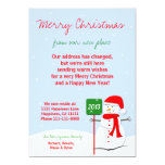 "Change of Address Christmas Flat Card Snowman 5"" X 7"" Invitation Card"