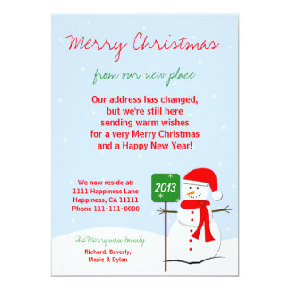 Change of Address Christmas Flat Card Snowman Invitations