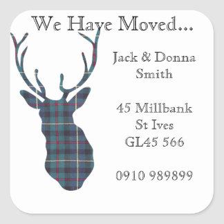 Change of address labels Tartan country stags head Square Sticker