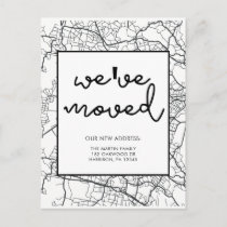 Change of Address Map Design Black and White Announcement Postcard