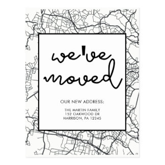Change of Address Map Design Black and White Postcard