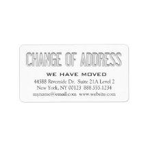 """Change of Address"" Notification Label Address Label"