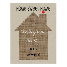 Change Of Address Postcard -burlap House at Zazzle