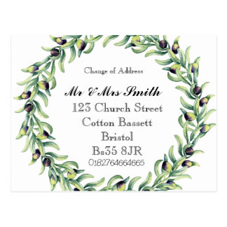 Change of address watercolour wreath postcard