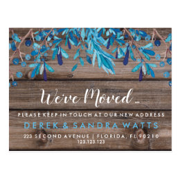 Change of address we have moved house Blue Postcard