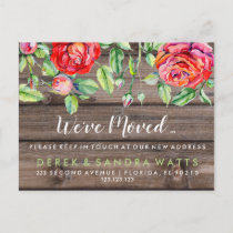 Change of address we have moved house floral announcement postcard
