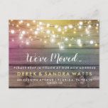 """Change of address we have moved house string light announcement postcard<br><div class=""""desc"""">change of address we have moved postcard house</div>"""
