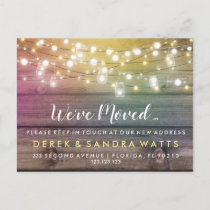Change of address we have moved house string light announcement postcard